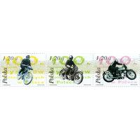 Польша 2003 г.  Транспорт. Мотоциклы. Гонки на мотоциклах в Польше.  Сцепка - 3 марки *