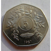 Уганда 5 шиллингов 1987 г