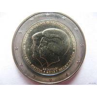 Нидерланды 2 евро 2013г. Коронация Короля Виллема-Александра. (юбилейная) UNC!
