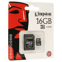 Карта памяти Kingston 16Gb MicroSD Class4 + SD ад. SDC4/16GB