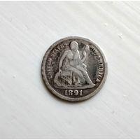 США, 10 центов - Seated Liberty Dime, 1891, серебро