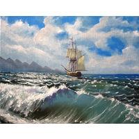 Картина - Волна море и корабль парусник