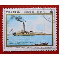 Куба. Пароход. ( 1 марка ) 1990 года.