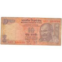 """""""666"""" в номере, Индия, 10 рупий, 866620, 2008г"""