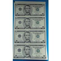 Неразрезанный лист 5$ купюр США.
