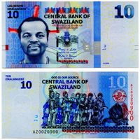 Свазиленд. 10 эмалангени 2010. [UNC]