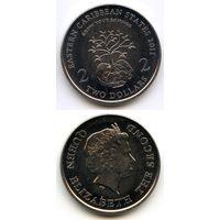 Карибы 2 доллара 2011 г. KM#87 (Восточные Карибские острова, Месяц финансовой информации)