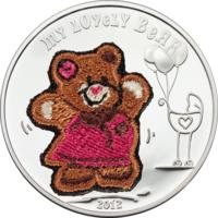 """Палау 5 долларов 2012г. Вышивка """"Мой милый мишка"""". Монета в капсуле; сертификат. СЕРЕБРО 20гр."""
