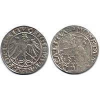 Грош 1536 M, Жигимонт Старый, Вильно. Окончания легенд: Ав - 'LITV', Рв - 'LITVA' . Остатки штемпельного блеска, редкий вариант!
