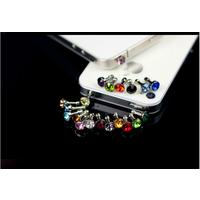 Стильный аксессуар (заглушка) стразик для любых телефонов, планшетов и плееров с разъемом наушников 3,5 мм.  Стразы сверкают Очень красиво! Металл и стекло . Эта штучка украшает телефон и защищает от
