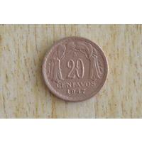 Чили 20 сентаво 1947