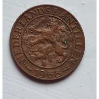 """Нидерландские Антильские острова 1 цент, 1968 Метки """"Рыба"""" и """"Звезда"""" 4-4-58"""