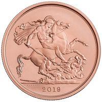 """RARE Великобритания 2019 """"Пять Соверенов"""". Монета в капсуле; деревянном подарочном футляре; номерной сертификат; коробка. ЗОЛОТО 39,94гр."""
