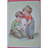 Дети с кроликом. Германия. 1940-50-е. Чистая.
