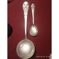 Большая ложка черпак для салатов и ложка. Серебро. Европа Модерн 1919- 1921 г.