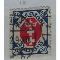 Герб Данцига в восьмиугольной рамке. Данциг. Дата выпуска:1921-06-03