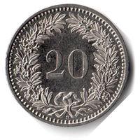 Швейцария. 20 раппенов. 2008 г.