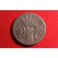 20 геллеров 1924. Чехословакия.