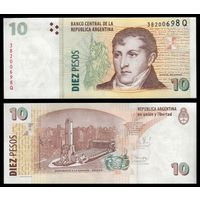 Аргентина 10 песо образца 2003 года UNC p354b
