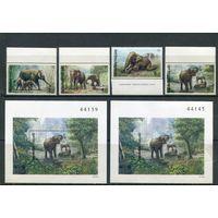 Таиланд. Индийские слоны. (серия, блоки зубцовый и беззубцовый)