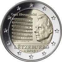 2 евро 2013 г. Люксембург Национальный гимн. UNC из ролла