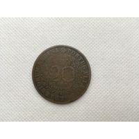 Монета 20 рейс Португалия 1843 год