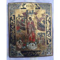 Икона Святого Ангела Хранителя! Письмо по Золоту, Эмали, Чекан. Очень Красивая! Золото Горит!