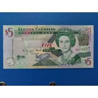 5 долларов 2008 года. Восточные Карибы. UNC