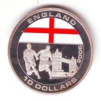 Либерия. 10 долларов 2005 г.Футбол, сборная Англии - состояние !