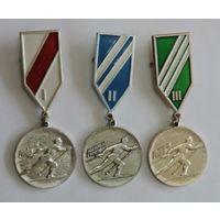 """Медаль """"Лыжный спорт"""" 1, 2 и 3 место. 3 шт. СССР. Алюминий."""