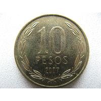 Чили 10 песо 2007 г.