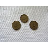 5 пфеннигов 1967, 1986, 1990 г.