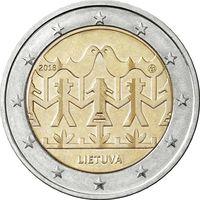 2 евро 2018 Литва Праздник песни и танца UNC из ролла