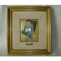 Пабло Пикассо - Паоло в костюме Арлекина. Горячая эмаль. Сертификат. 31 х 34 см.