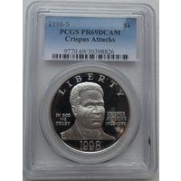 США 1 доллар 1998 года S. BLACK REVOLUTIONARY WAR PATRIOTS. Серебро. Пруф 69. В слабе PCGS! Идеальное состояние! Редкая!