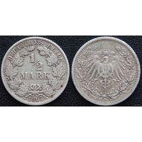 YS: Германия, Рейх, 1/2 марки 1907F, серебро, КМ# 17