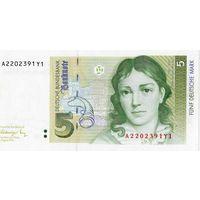 Германия, 5 марок, 1991 г., UNC