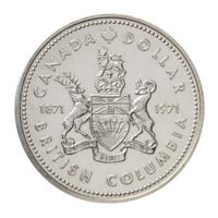 Канада 1 доллар 1971 г. (100 лет  Британской Колумбии) серебро/proof  в капсуле