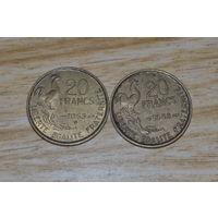 Франция 20 франков 1953 и 1953В