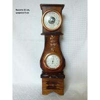 Барометр, термометр в деревянном корпусе. Европа