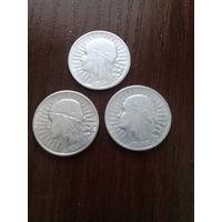 Лот из 3-х серебрянных монет Ядвиги в идеале 1932; 33; 34гг не с рубля
