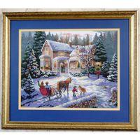 Вышитая картина от автора  Зимний домик (крестик)