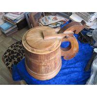 Отличная большая деревянная(липа) кружка ручной работы на 1,5 л.