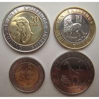 Кения 1, 5, 10, 20 шиллингов 2018 г. Жираф, носорог, лев, слон. Цена за комплект