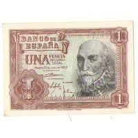 1 песета, 1953 года, Испания,  Нечастая!