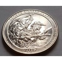 25 центов, квотер США, нац. исторический парк Р. Кларка, штат Индиана, P