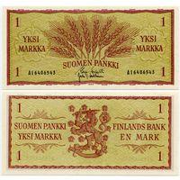 Финляндия. 1 марка (образца 1963 года, P98, подпись 2, UNC)