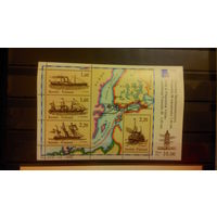 Корабли, парусники, пароходы, транспорт, флот, моренистика, карты, маяки, марки Финляндия, 1986, блок