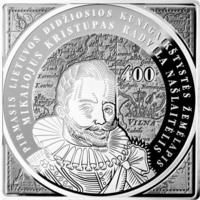 Радзивиллы: великий маршалок литовский Николай Радзивилл Сиротка - 400 лет первой карты Литвы - 100 лит(ов) серебро 925 пробы 56,56 граммов