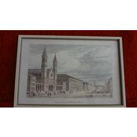 Старинная гравюра с церковью и библиотекой г. Мюнхена